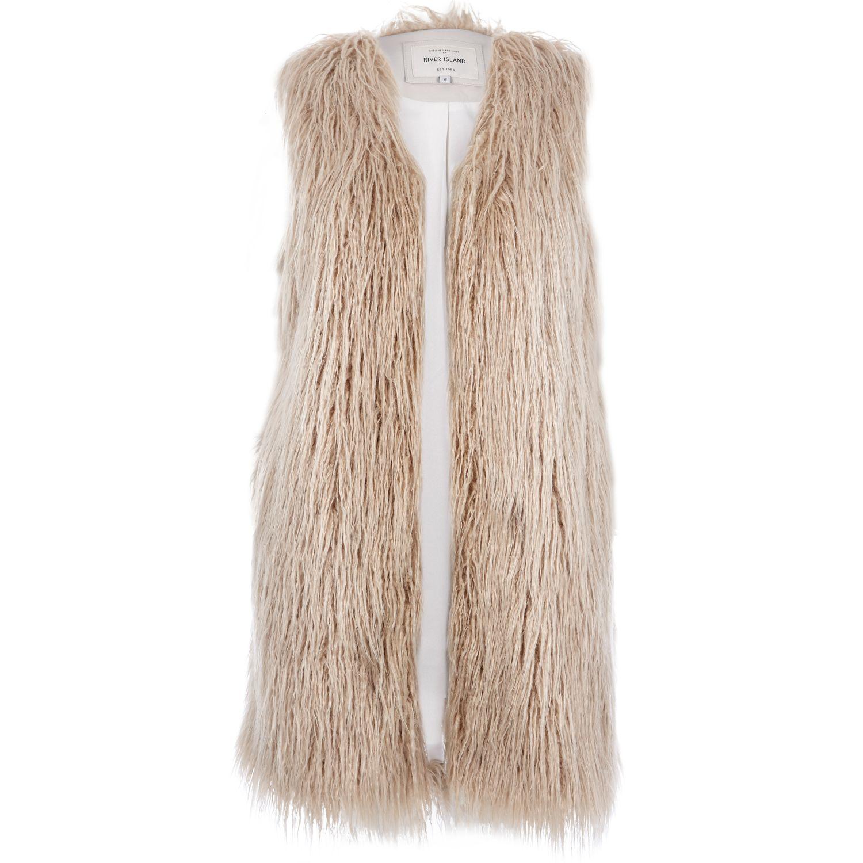 897e776e5c River Island Cream Shaggy Faux Fur Gilet in Natural - Lyst