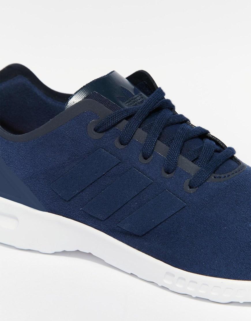 b63e92544e09 ... canada lyst adidas originals zx flux smooth navy sneakers in blue af106  4e2da