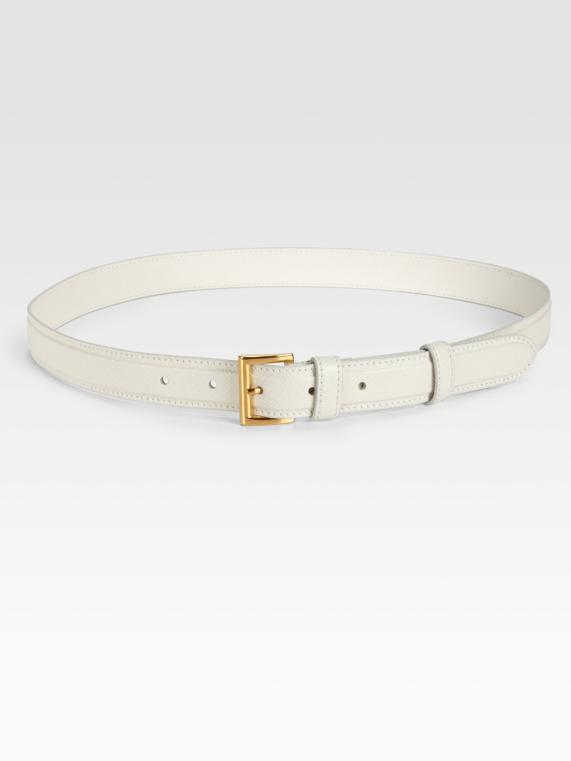 Prada Leather Belt in White (ivory) | Lyst