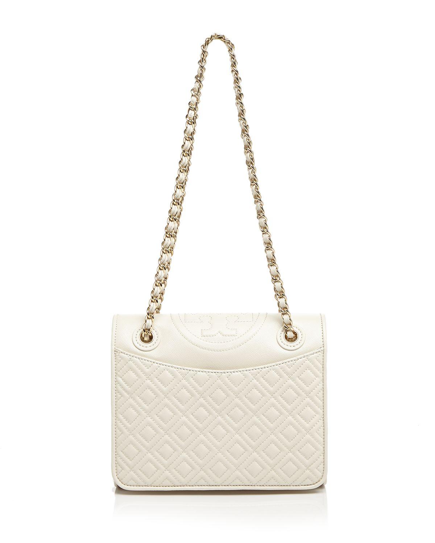 9f9fee108652 Lyst - Tory Burch Shoulder Bag - Fleming Patent Medium in White