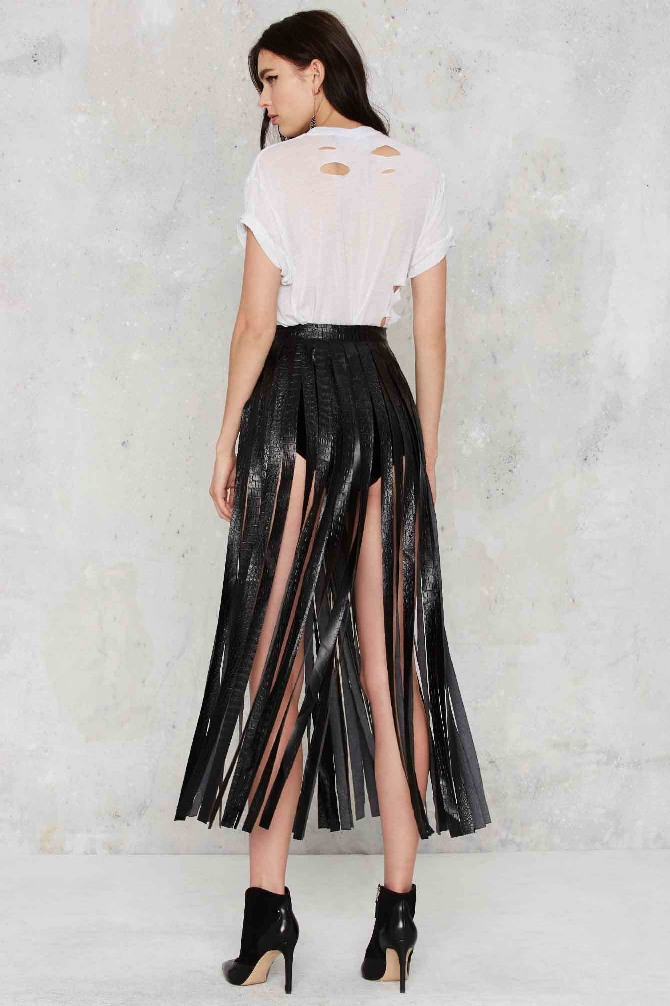 Lyst Nasty Gal Skirting With Fate Fringe Skirt In Black
