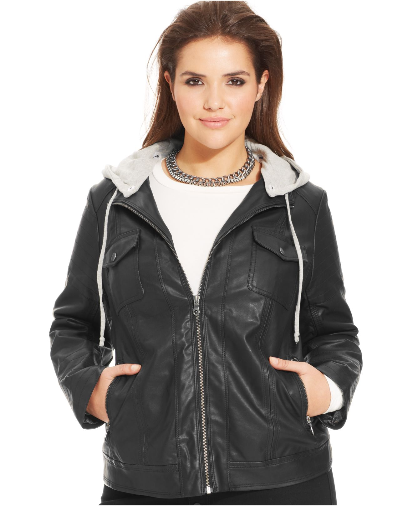 Plus size hooded leather jacket