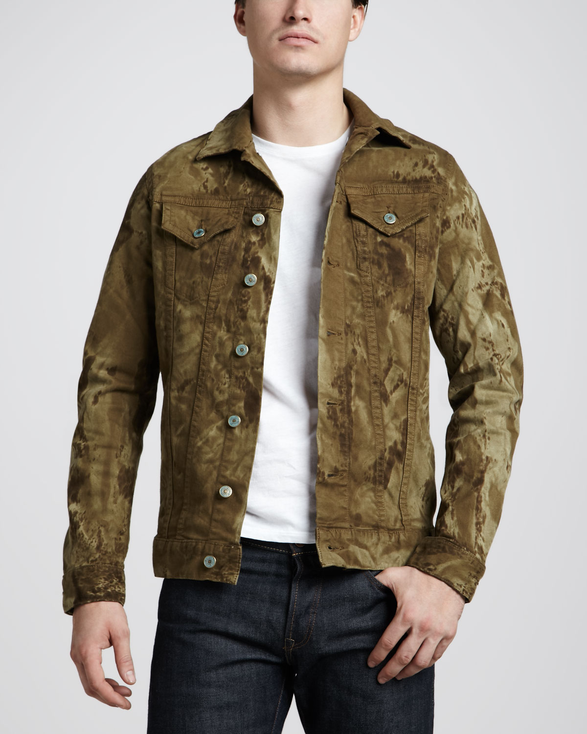 Lyst Robin S Jean Marblewash Khaki Denim Jacket In Green