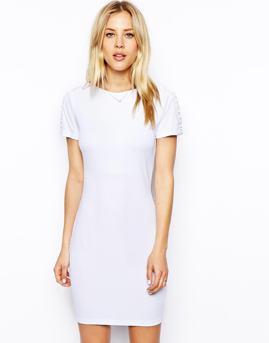Asos Embellished Sleeve T-shirt Bodycon Dress in White | Lyst