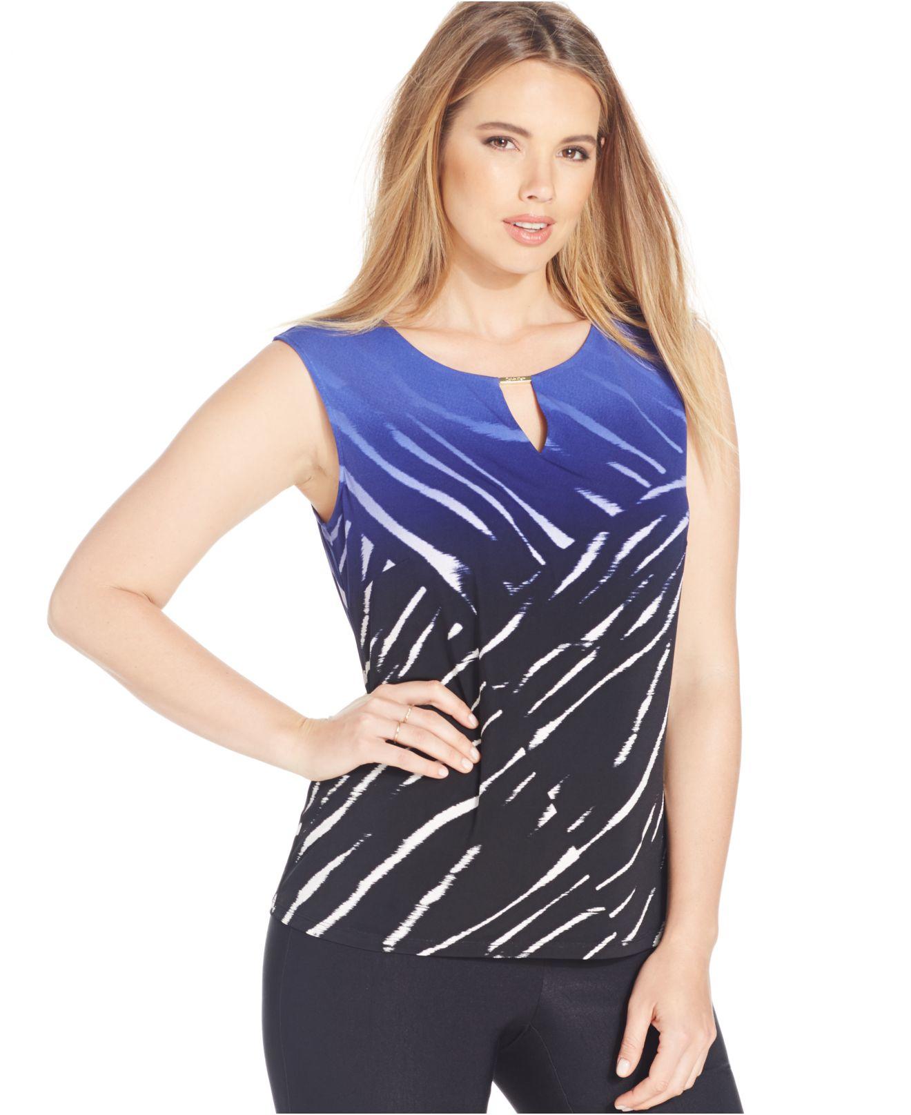 e3a8d7f1280 Lyst - Calvin Klein Plus Size Sleeveless Blouse in Blue