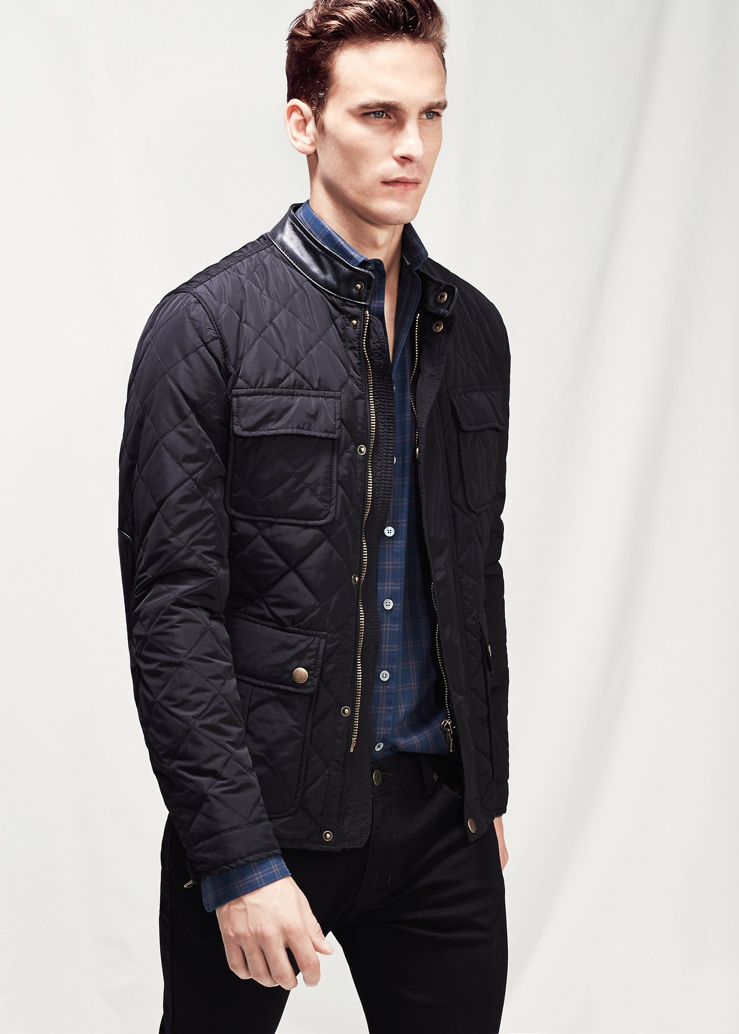 Lyst Mango Quilted Field Jacket In Black For Men