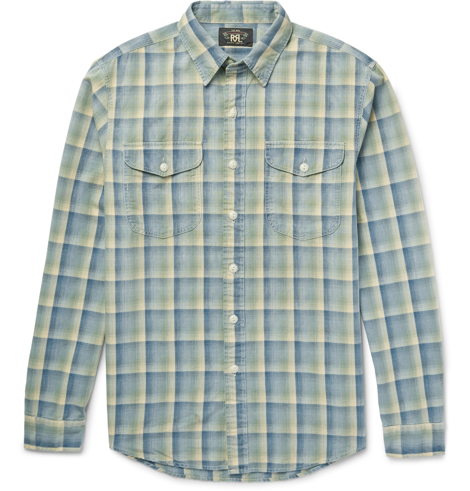Rrl slim fit checked cotton flannel shirt in gray for men for Athletic cut flannel shirts