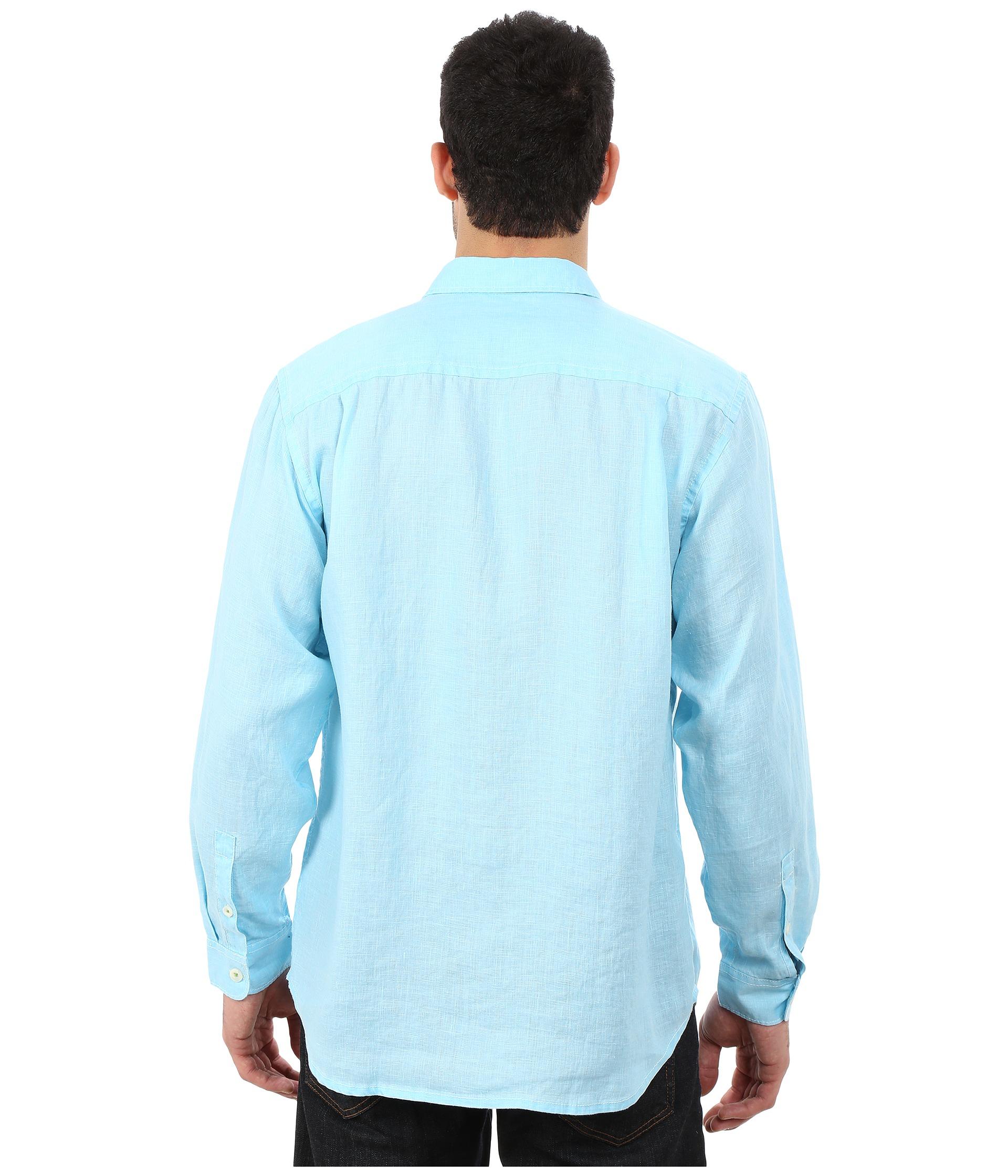 Lyst tommy bahama sea glass breezer long sleeve shirt in for Tommy bahama long sleeve dress shirts