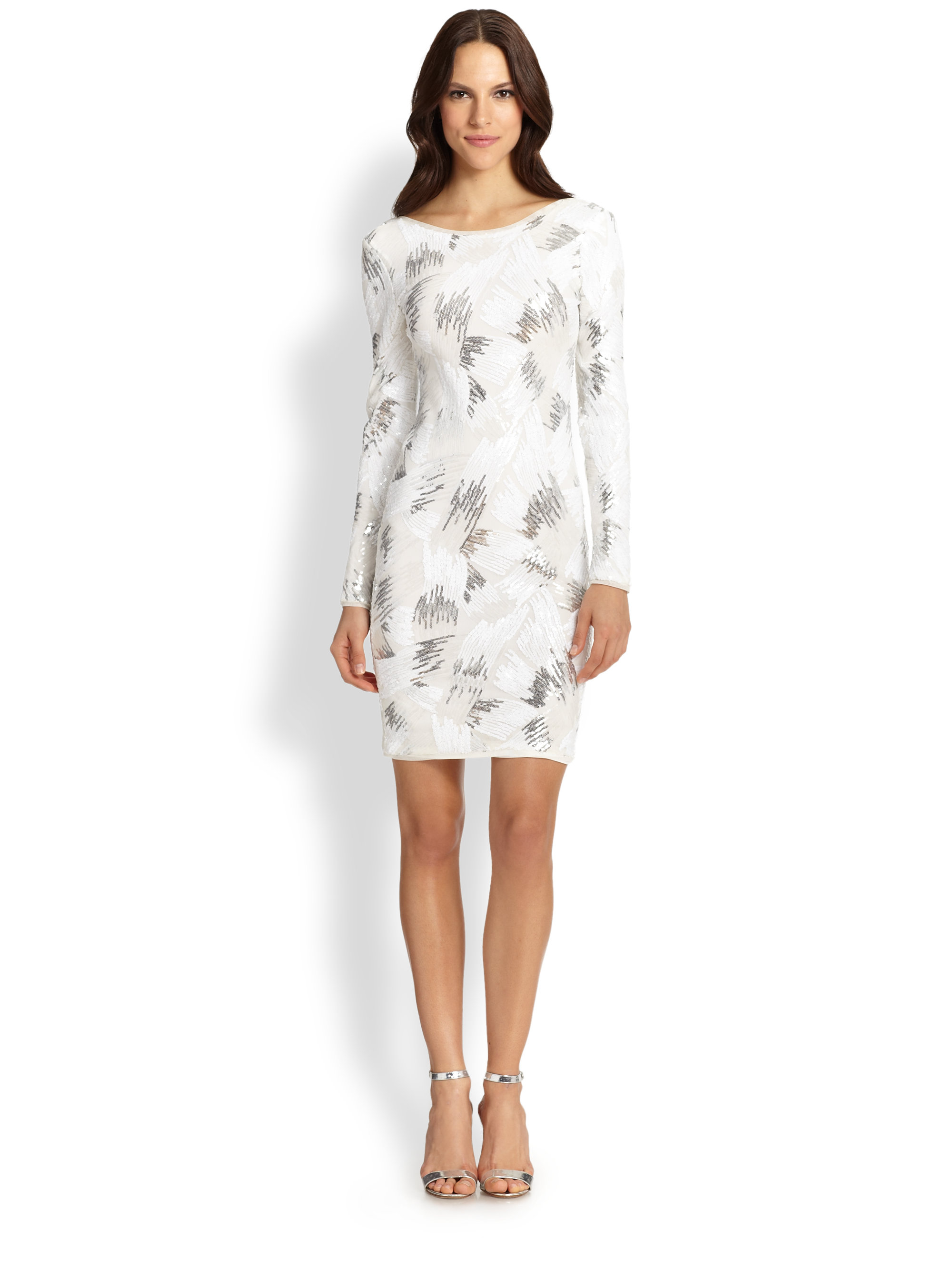 Bcbgmaxazria Sequin Long-sleeve Cocktail Dress in White - Lyst