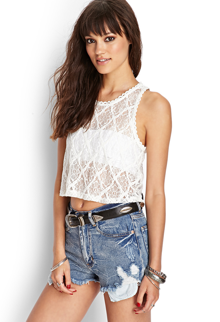 aeb83ac70f378 Lyst - Forever 21 Floral Lace Tank Top in White