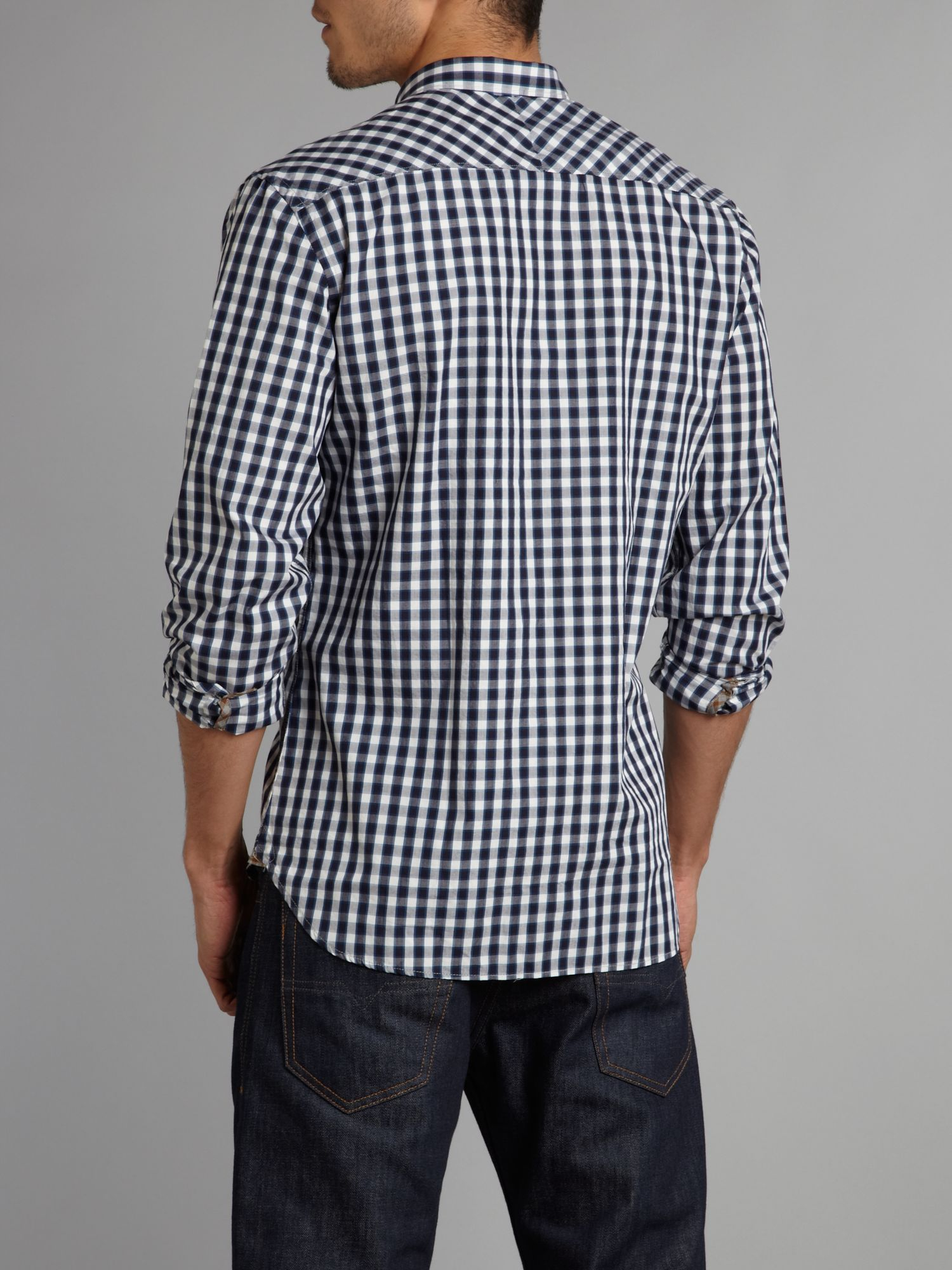 paul smith fashion check gingham shirt in blue for lyst