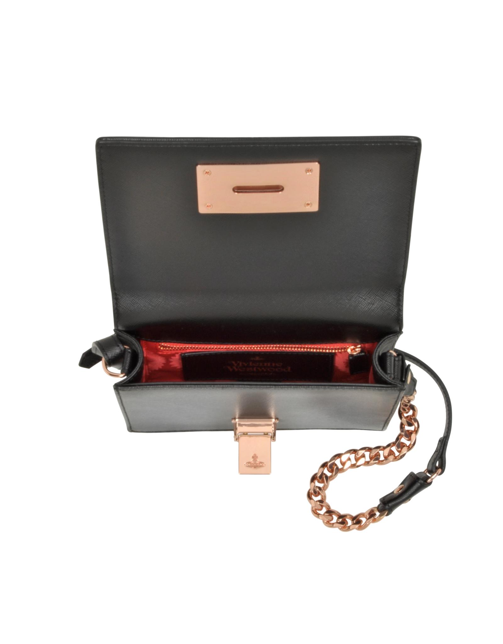 dfc9b5aaba Vivienne Westwood Black Opio Saffiano Small Crossbody Bag in Black ...