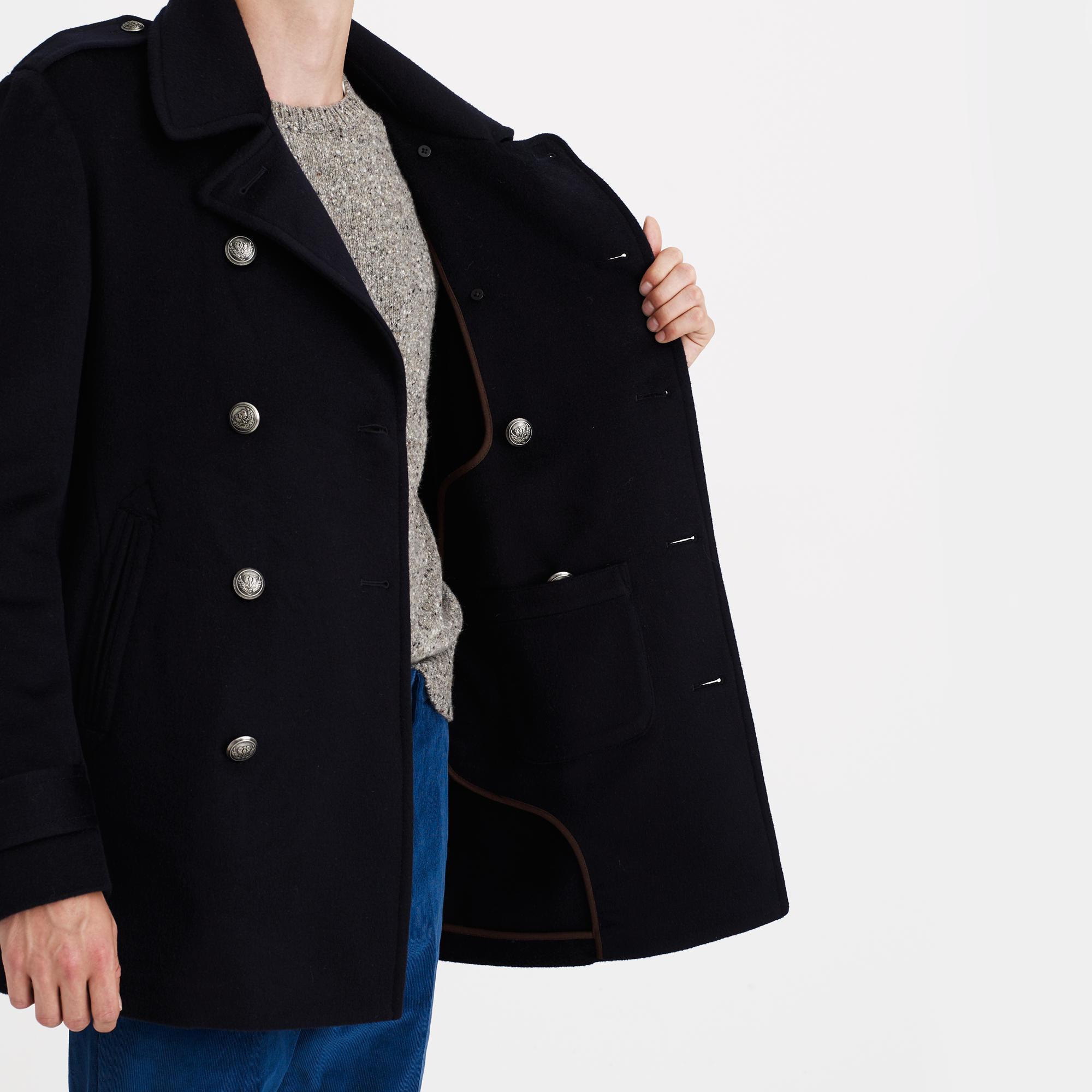 J.crew Regent Italian Cashmere Peacoat in Black for Men | Lyst