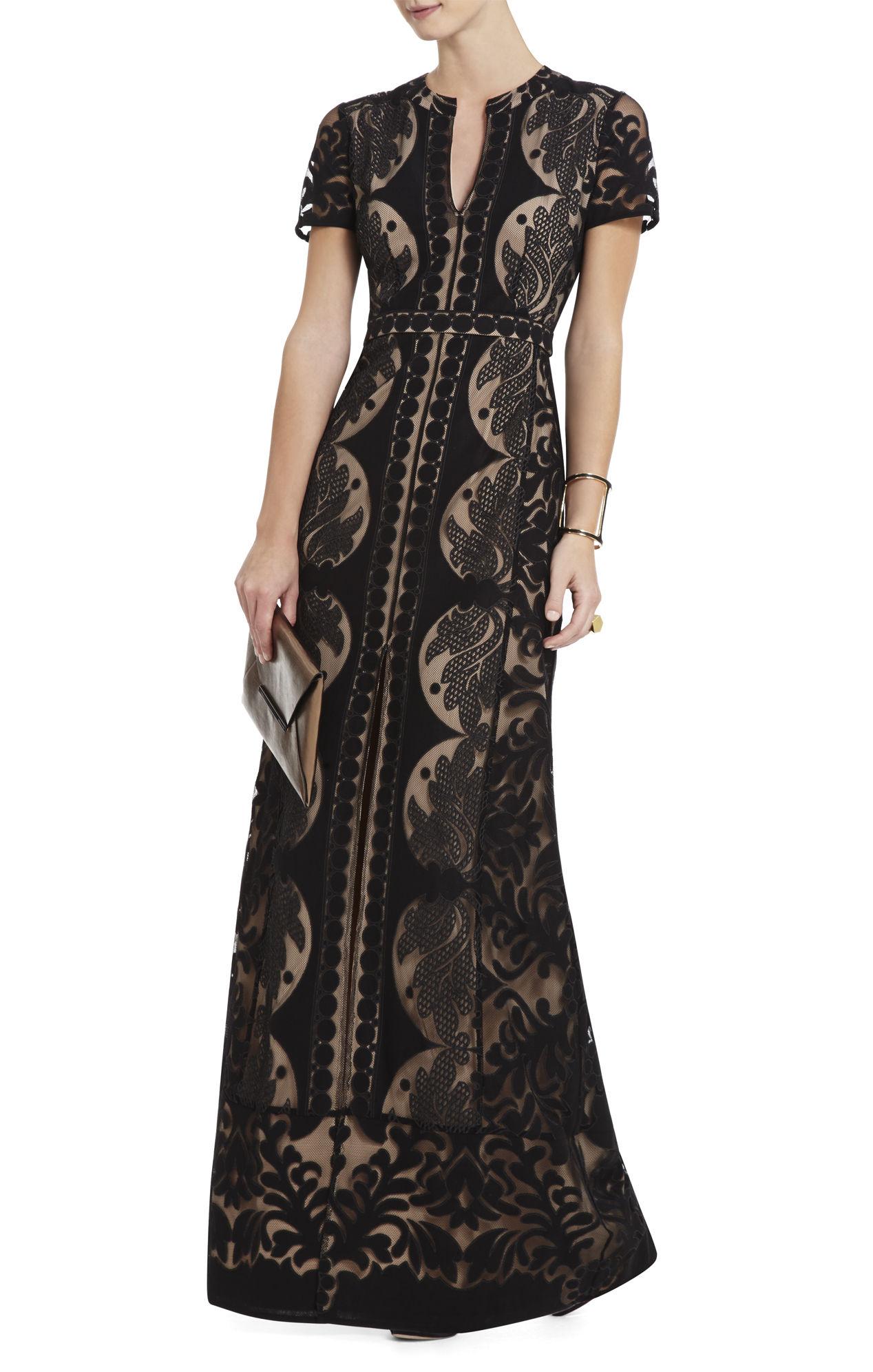 Bcbgmaxazria Cailean Short Sleeve Lace Dress In Black Lyst