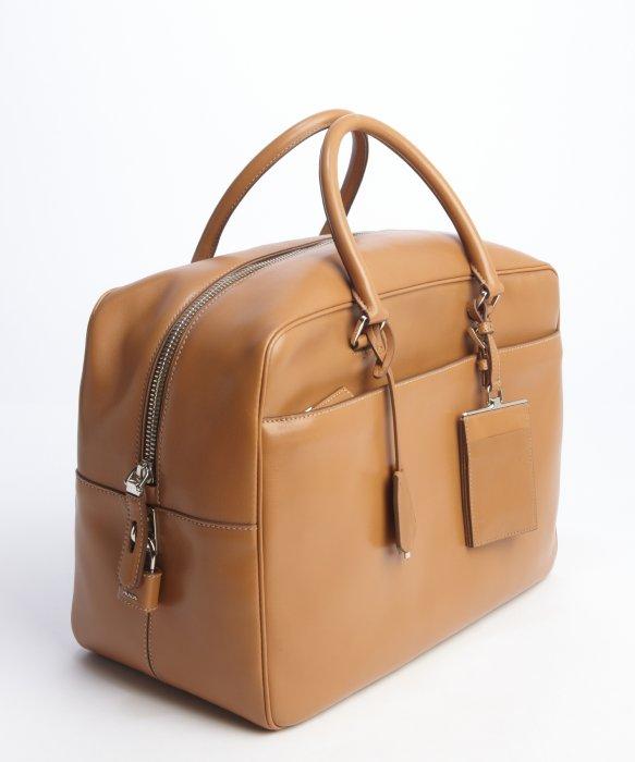 bd72667a13 spain prada blue travel bag fd3d9 53779  canada lyst prada beige calfskin  leather box top handle weekender in f528a e7146