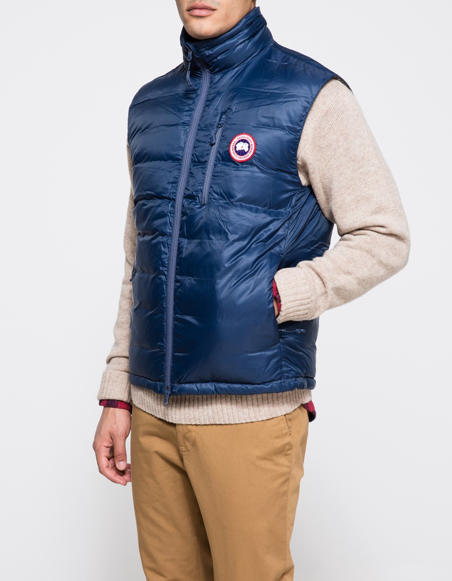 d2733c4d601b ... get lyst canada goose lodge down vest in spirit in blue for men 6b472  290e0