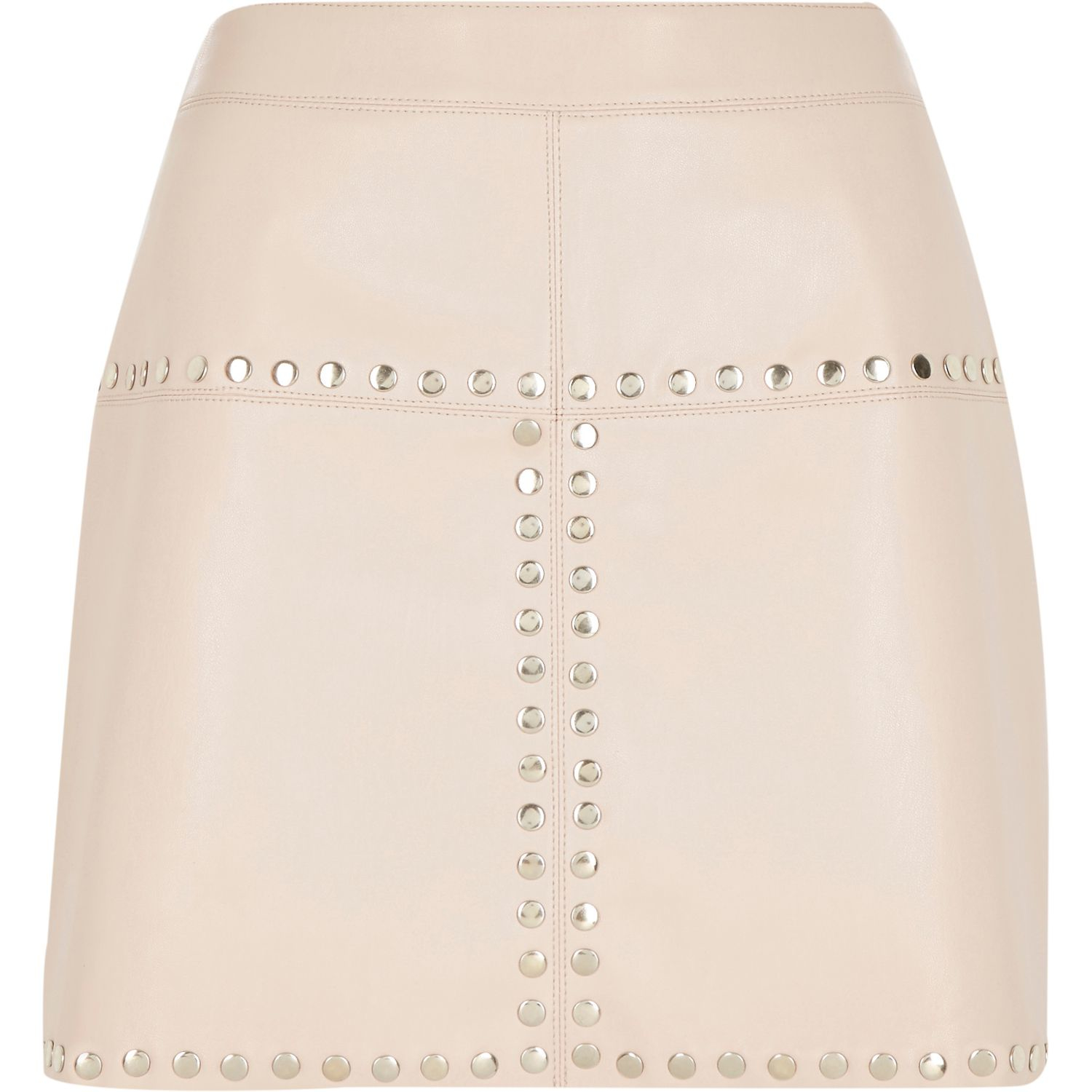 river island pink leather look studded mini skirt in pink