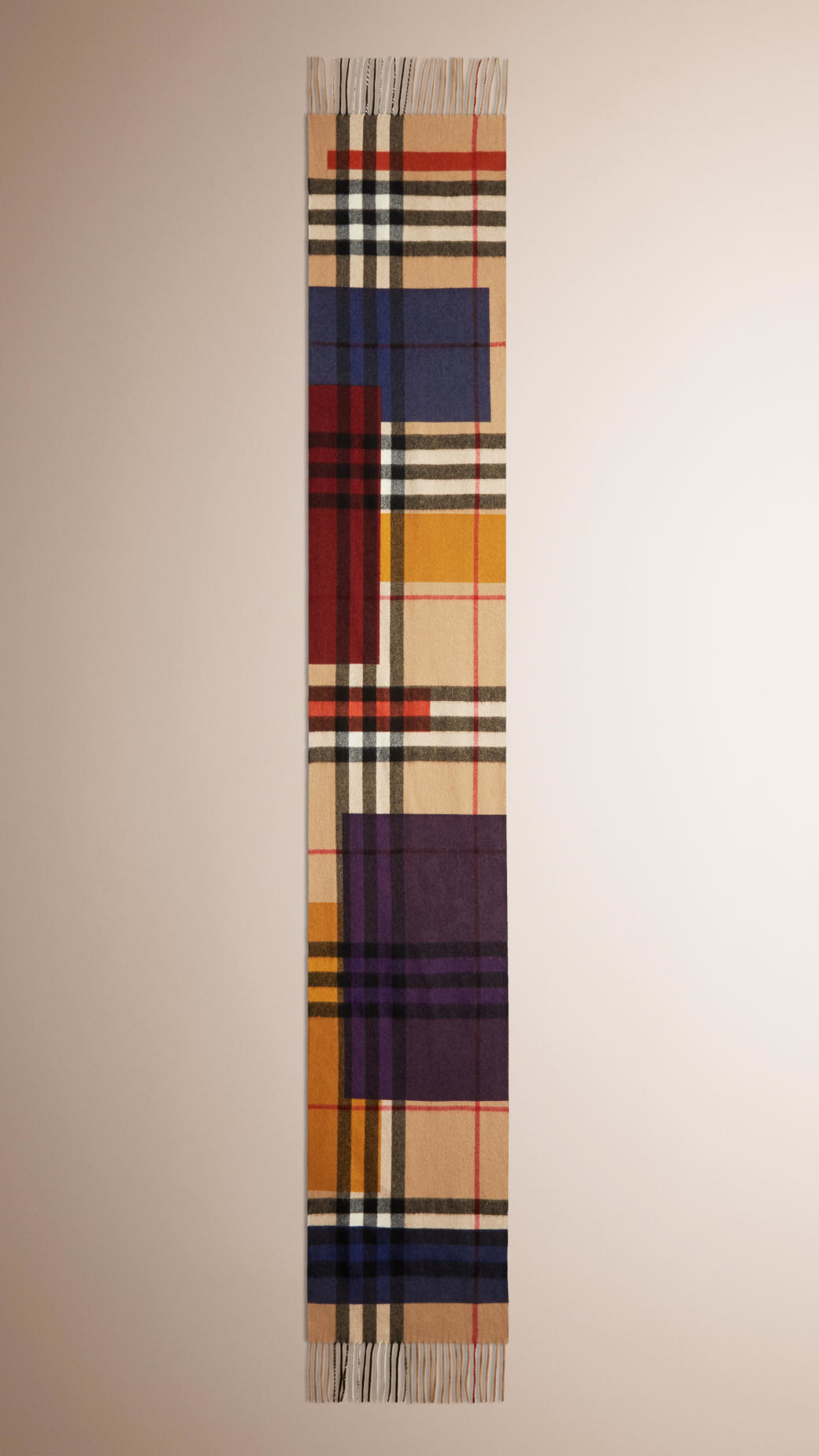 Burberry Colour Block Check Cashmere Scarf In Natural Lyst