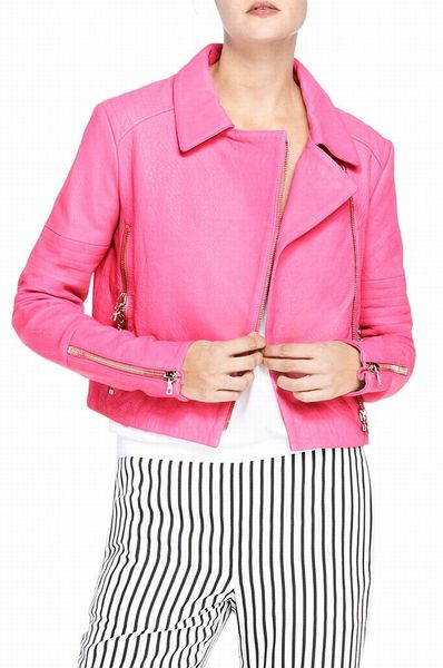 J Brand Aiah Leather Jacket in Hibiscus in Pink (SIGNAL PINK)