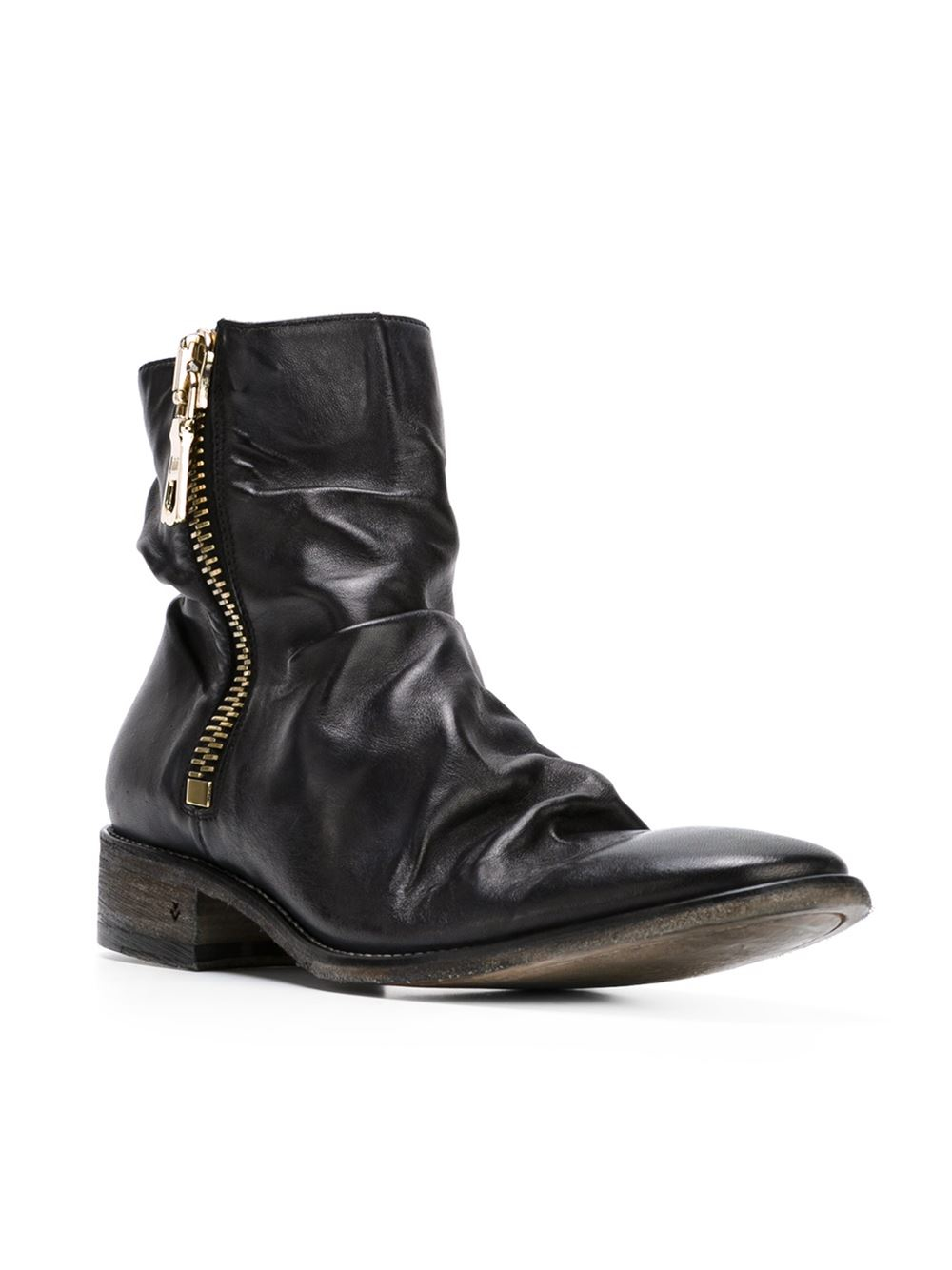 varvatos distressed zipped ankle boots in black for
