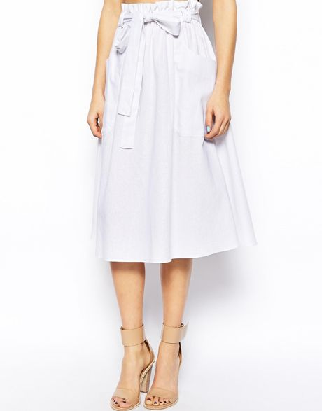 asos linen midi skirt with pocket detail in white lyst