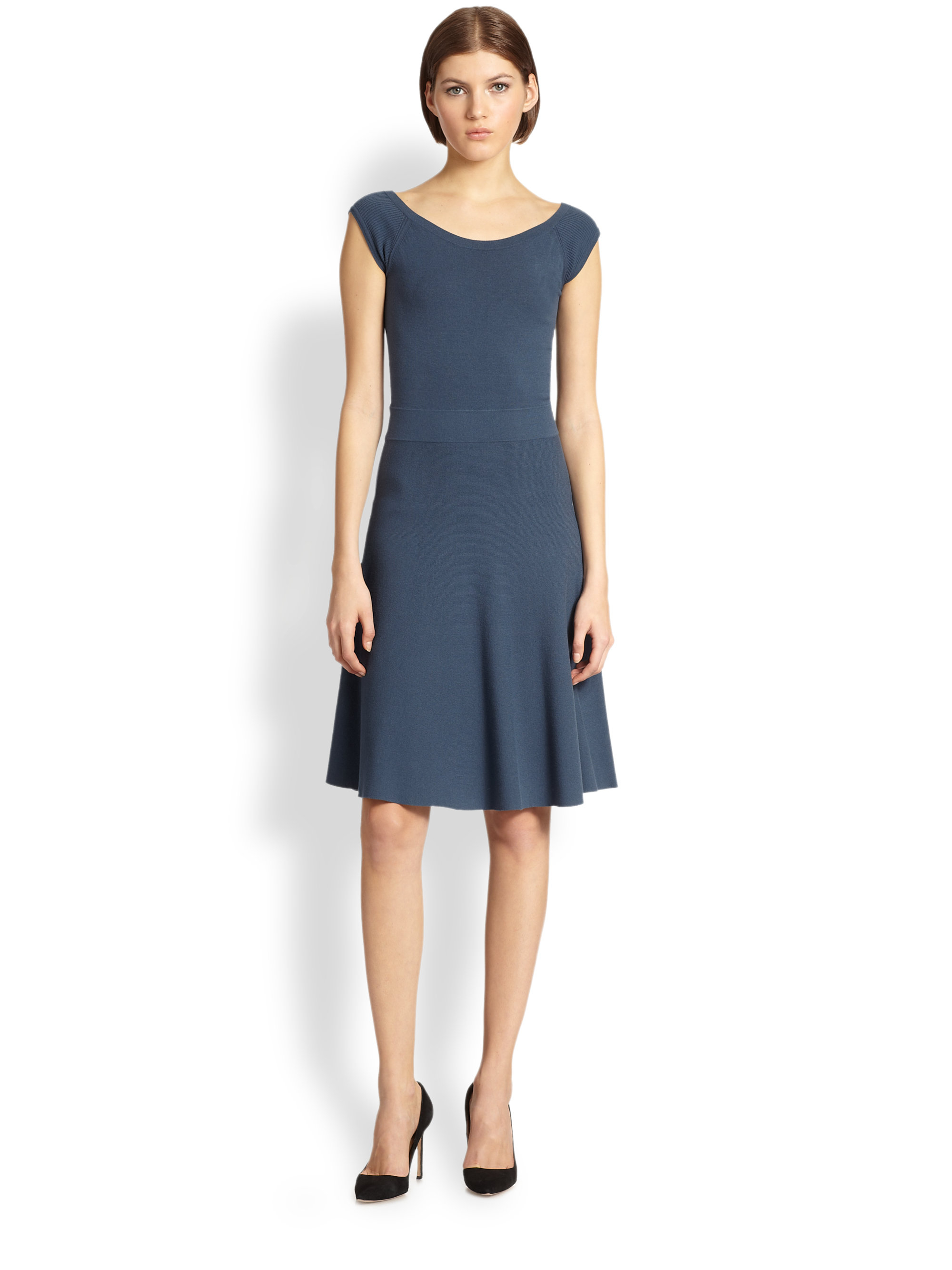 Lyst Donna Karan Capsleeve Fitandflare Dress In Blue