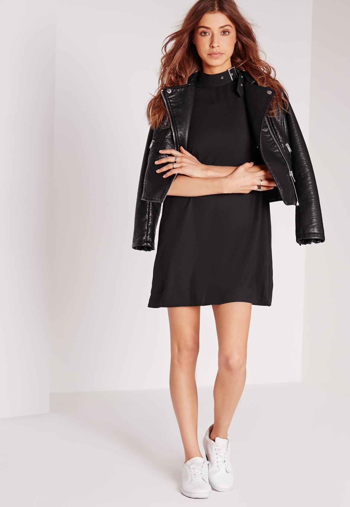 Missguided Buckle Neck Sleeveless Shift Dress Black in Black | Lyst