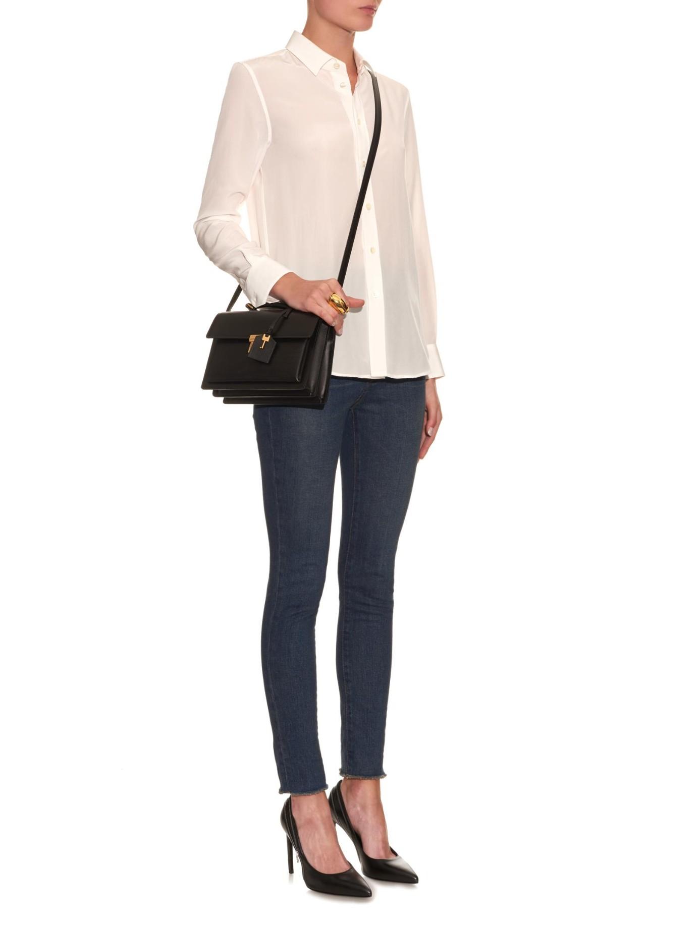 951b6913f51e Lyst - Saint Laurent High School Medium Leather Shoulder Bag in Black