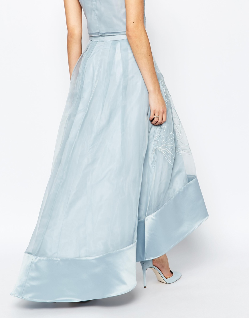 coast sulla embroidered skirt in pale blue pale blue in
