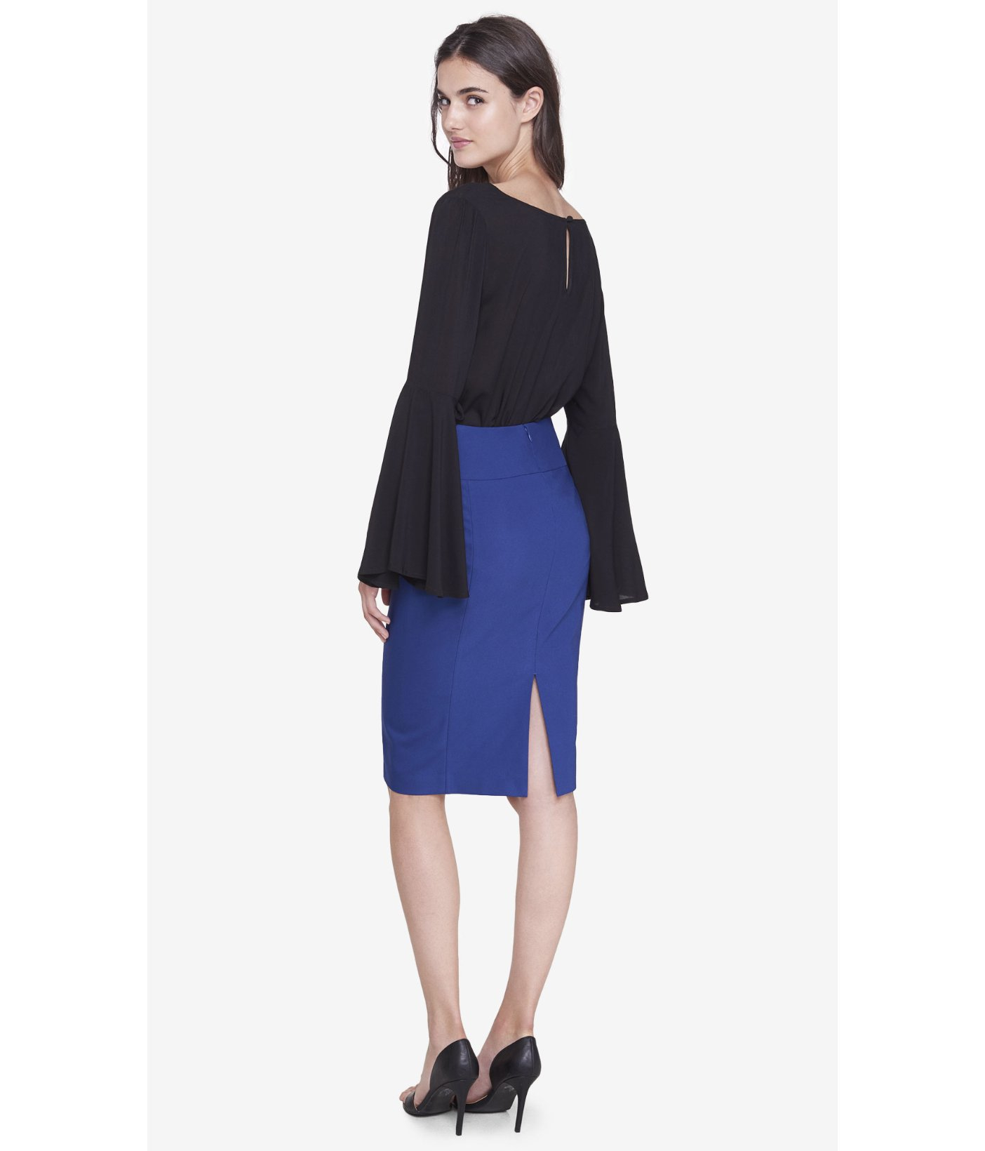 Express Blue High Waisted Midi Pencil Skirt in Blue | Lyst