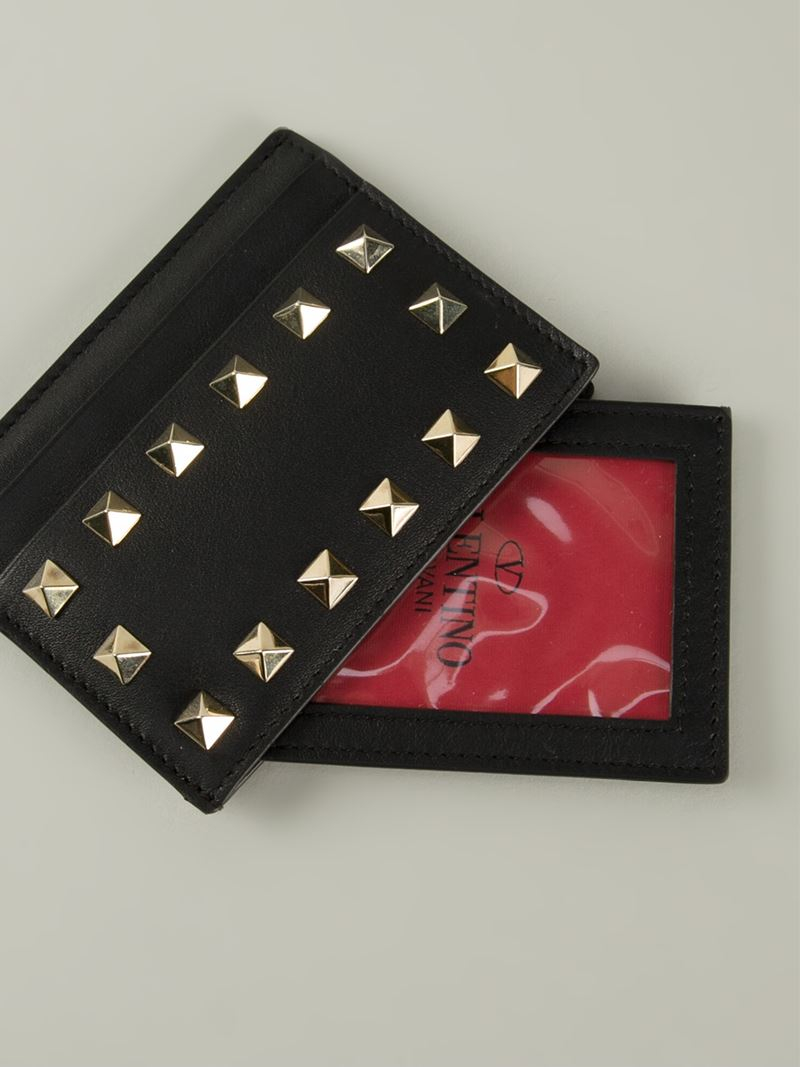 Grey Valentino Garavani Rockstud Card Holder Valentino
