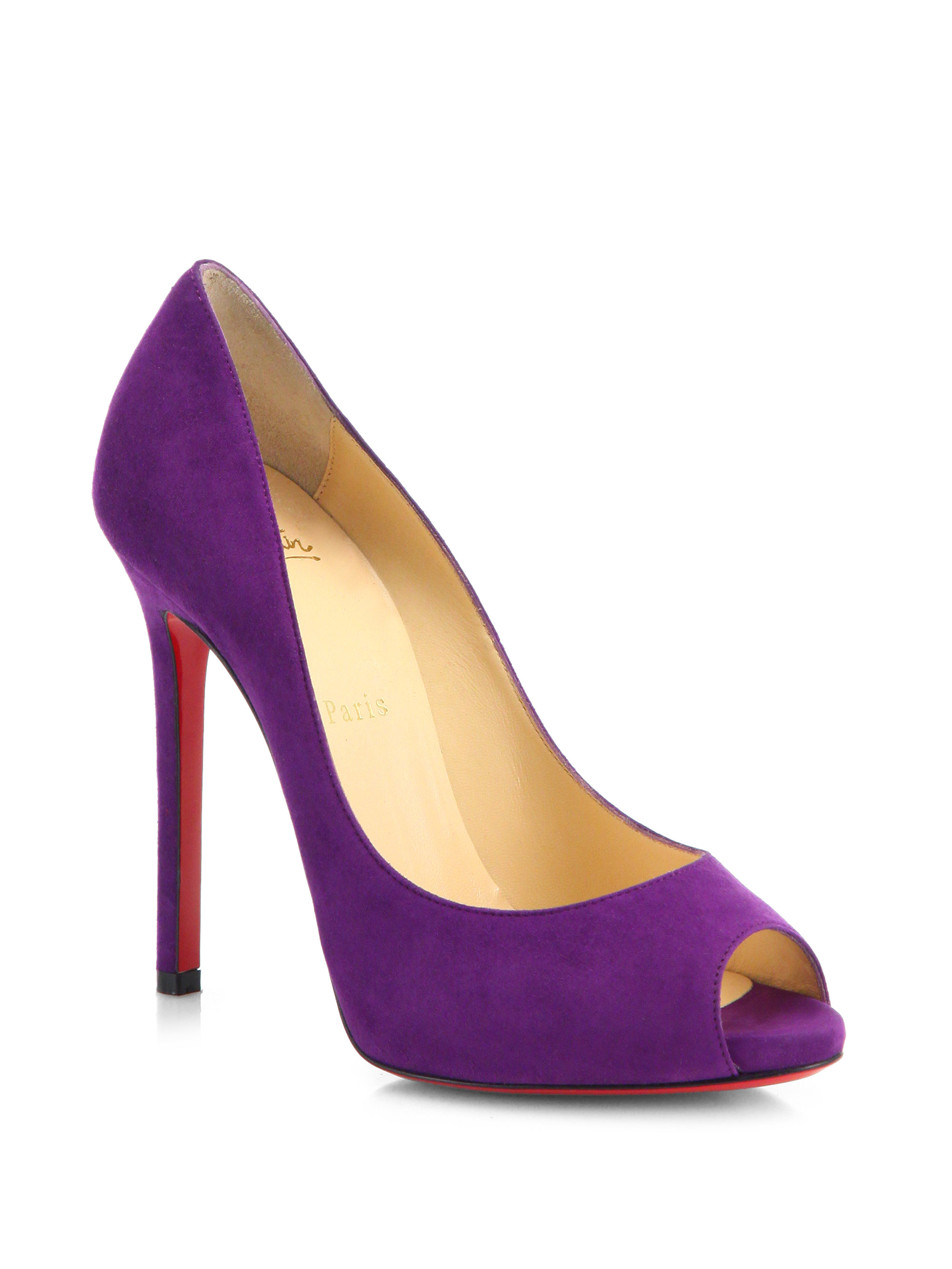 Peep Toe Purple Heels