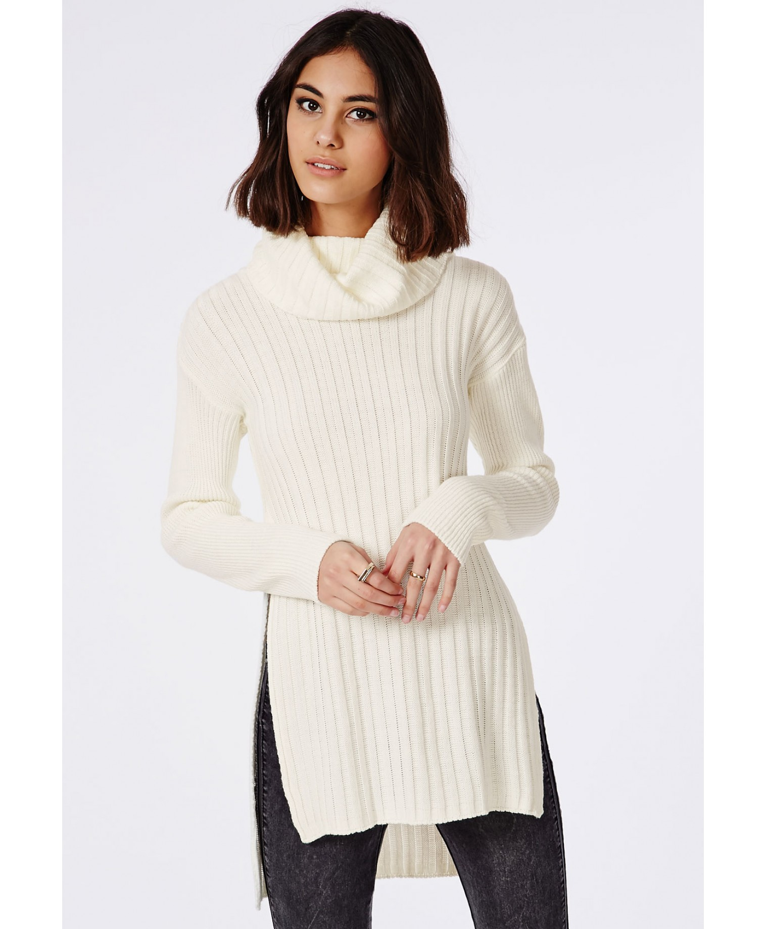 4c983cc779 Lyst - Missguided Kerena Extreme Side Split Roll Neck Sweater Cream ...