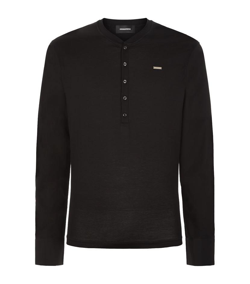 Dsquared henley long shirt sleeve t shirt in black for for Black long sleeve henley shirt