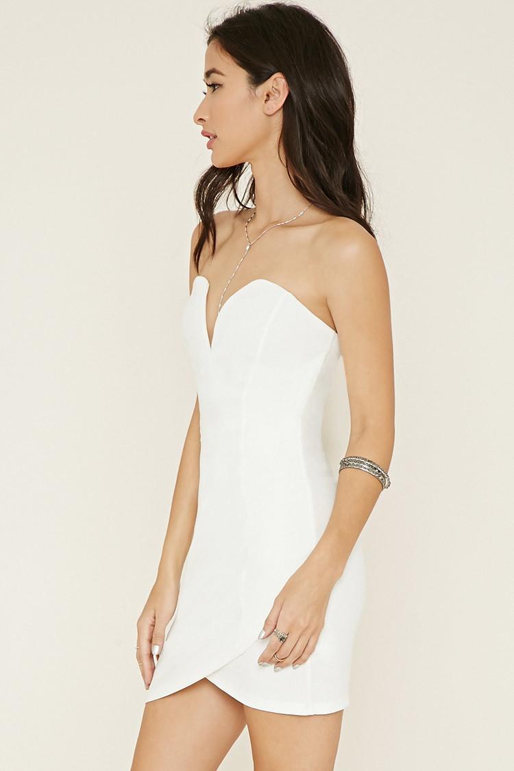c34f1152985 Forever 21 Strapless Mini Bodycon Dress in White - Lyst