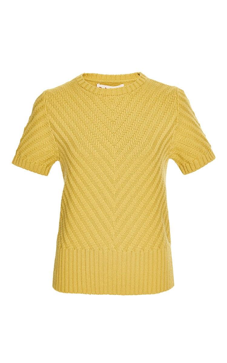 Marni Short Sleeve Crew Neck Sweater in Yellow | Lyst
