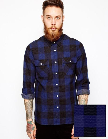 asos buffalo check shirt in long sleeve with pindot in