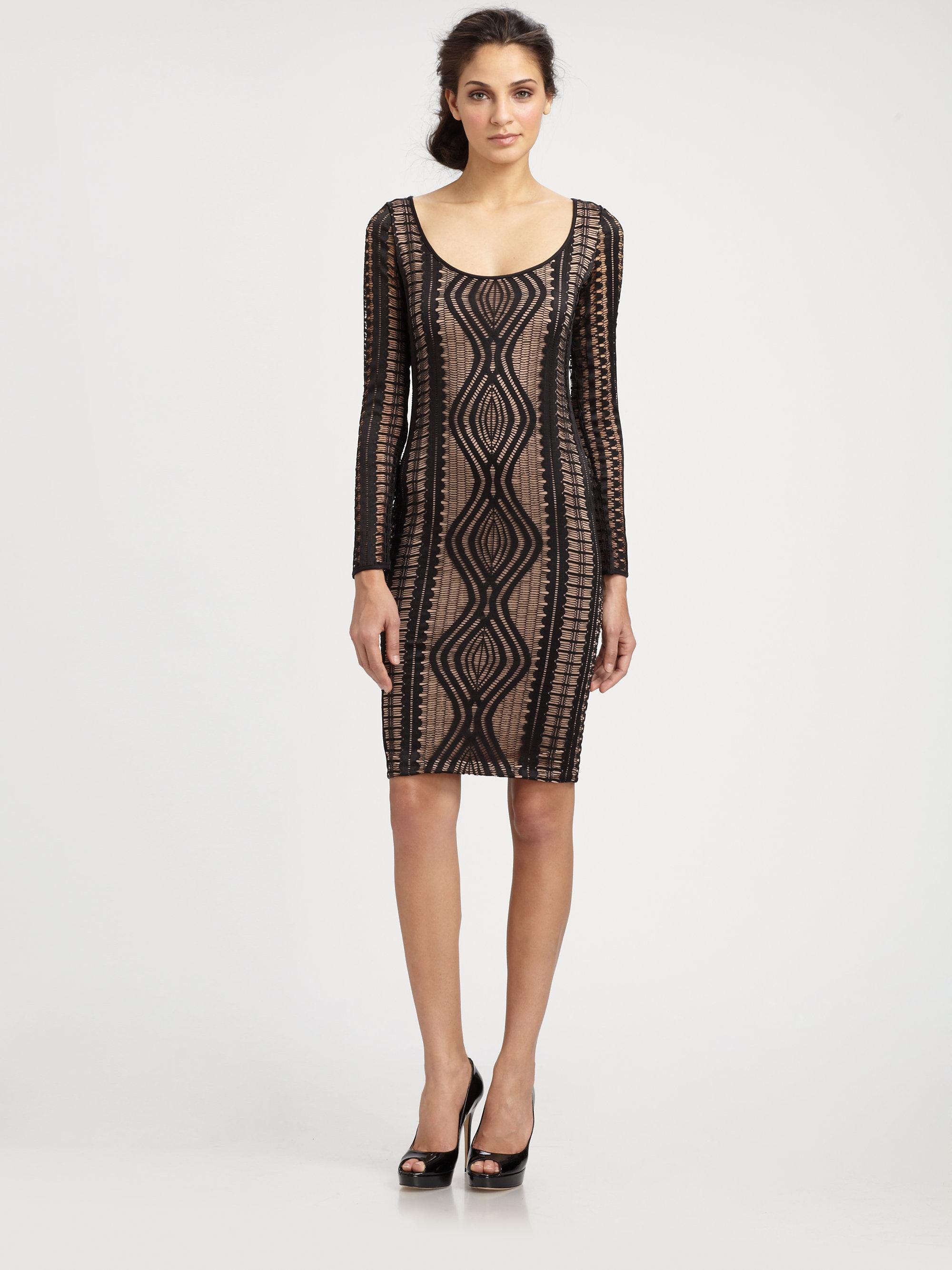Bcbg long black lace dress