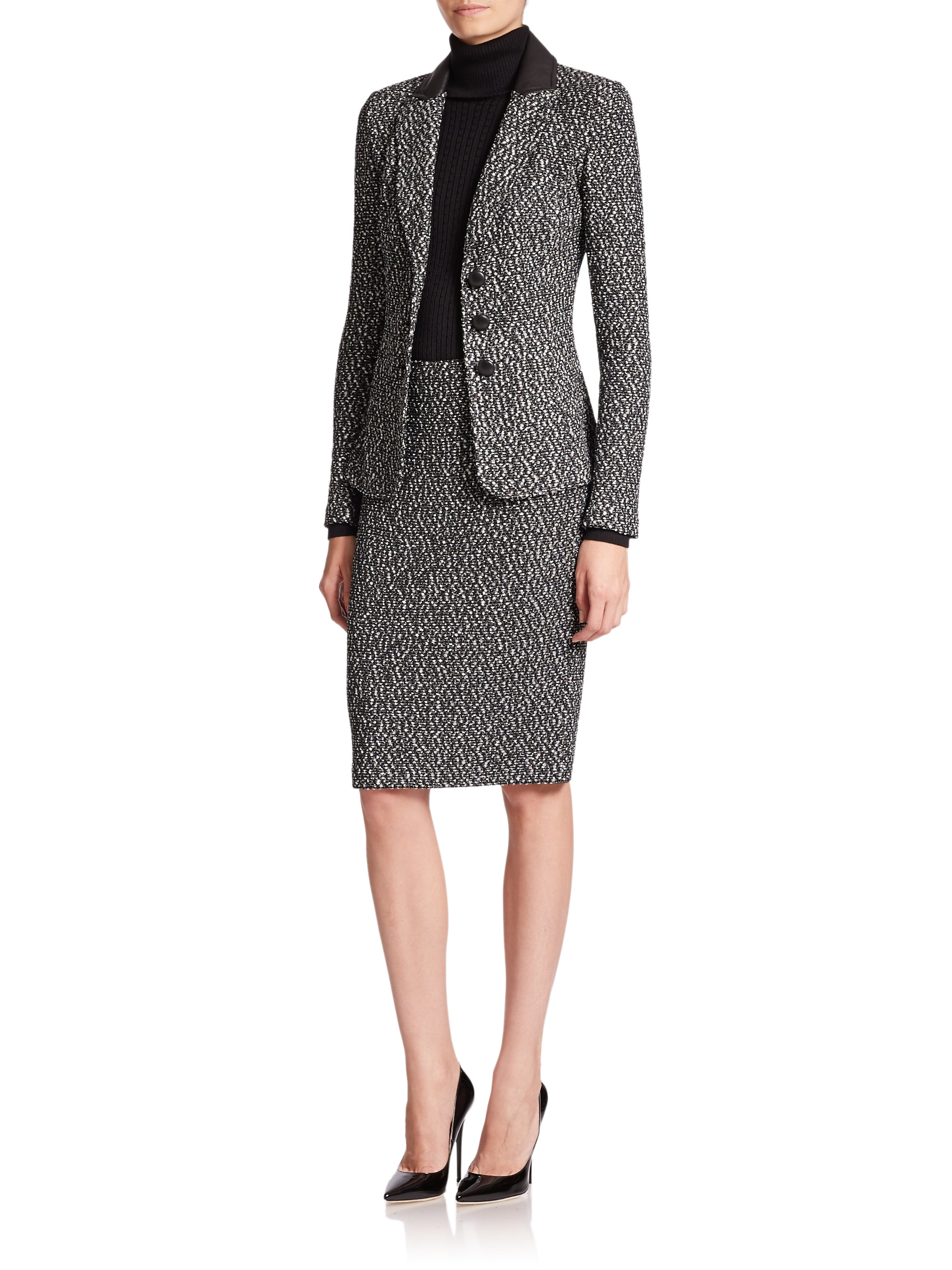 St. john Binario Tweed Pencil Skirt in Black | Lyst