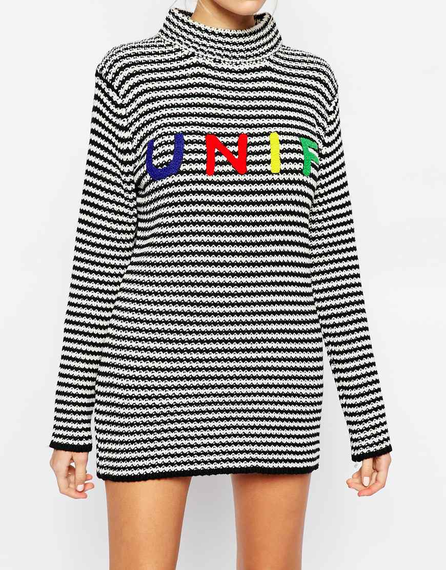 e4ca76974bb UNIF High Neck Striped Lenny Jumper With Front Logo - Lyst