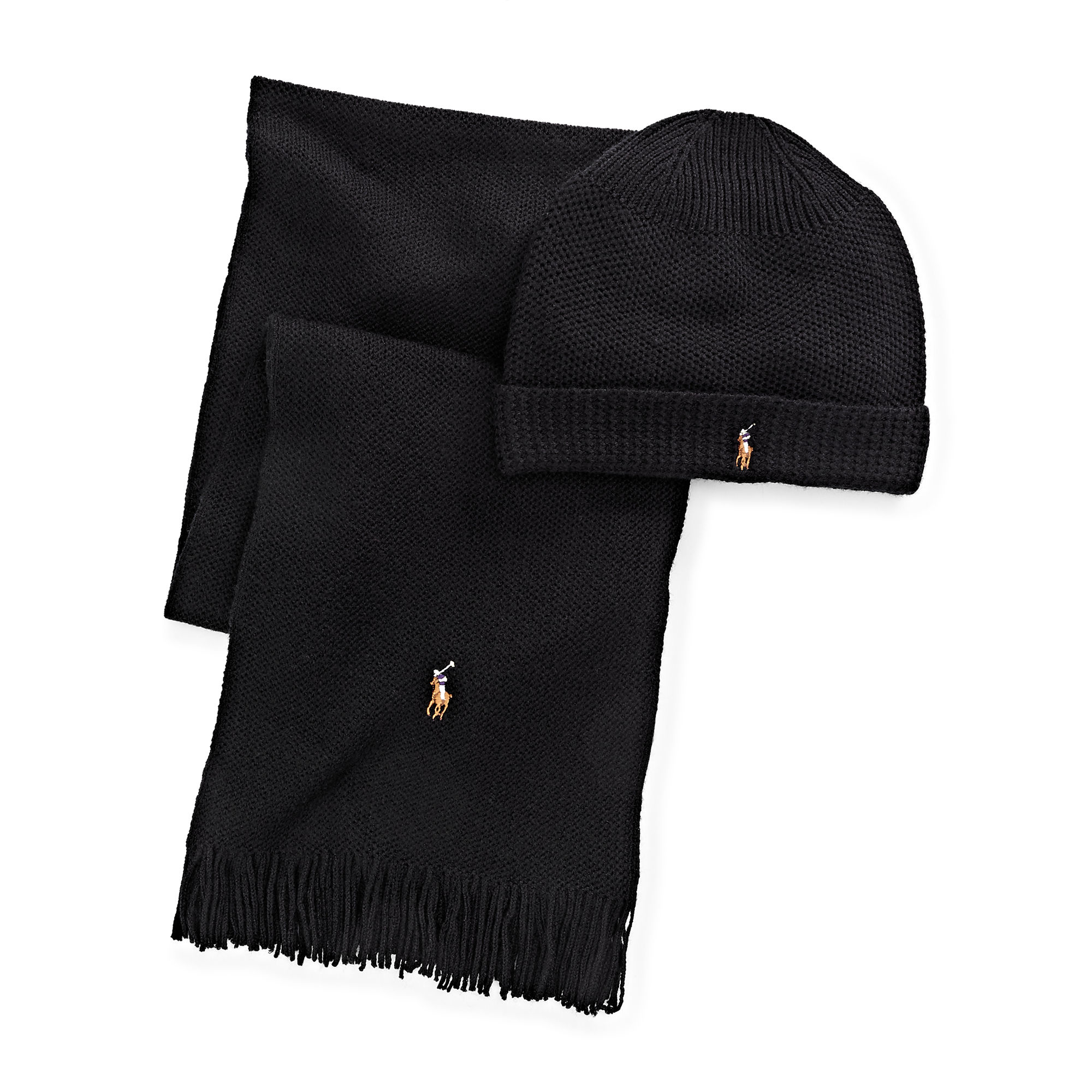 4c34a7ccf ... coupon code for polo ralph lauren wool hat scarf gift set in black for men  lyst