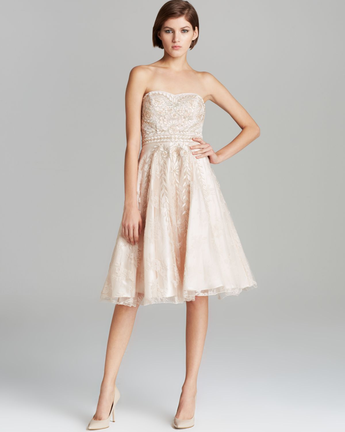 Sue wong Dress Strapless Embellished in Pink  Lyst
