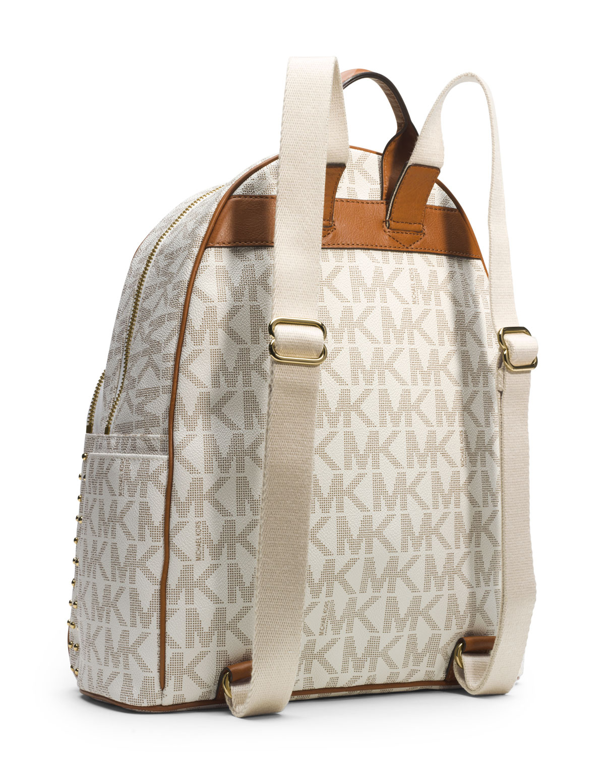 Michael michael kors Large Jet Set Studded Backpack in White | Lyst