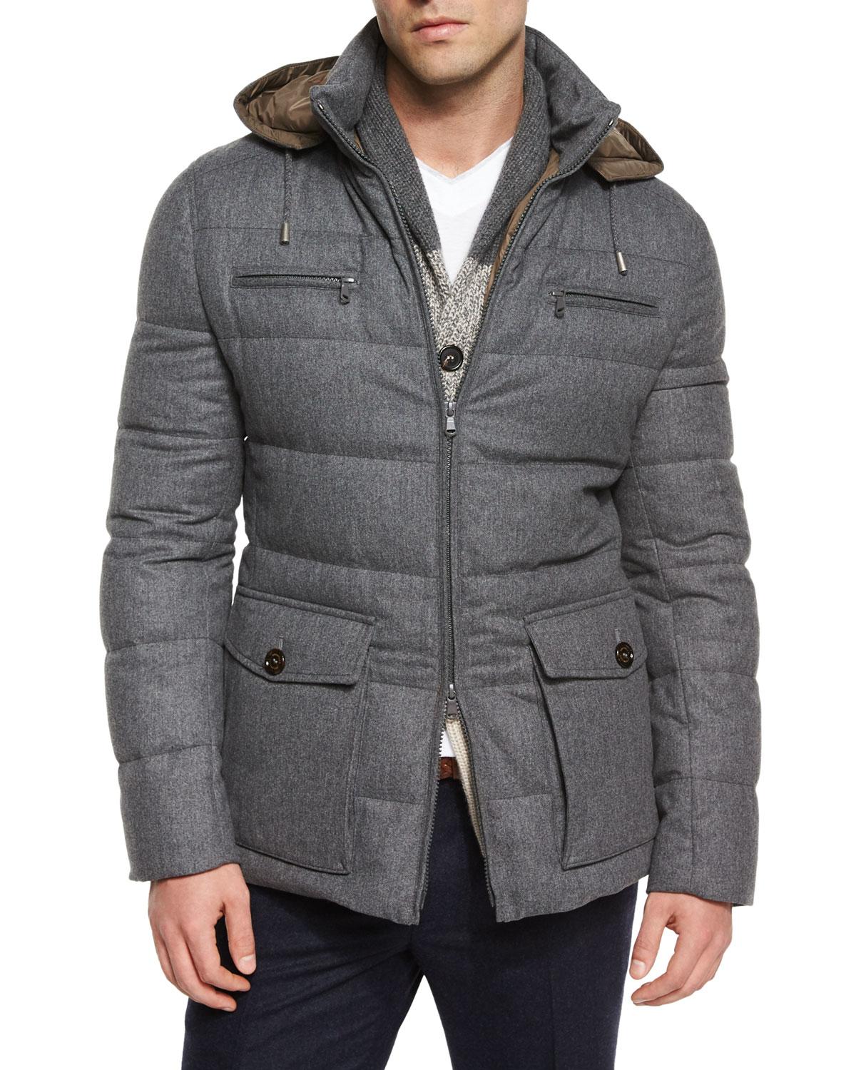 Lyst Brunello Cucinelli Milan Quilted Down Hooded Jacket