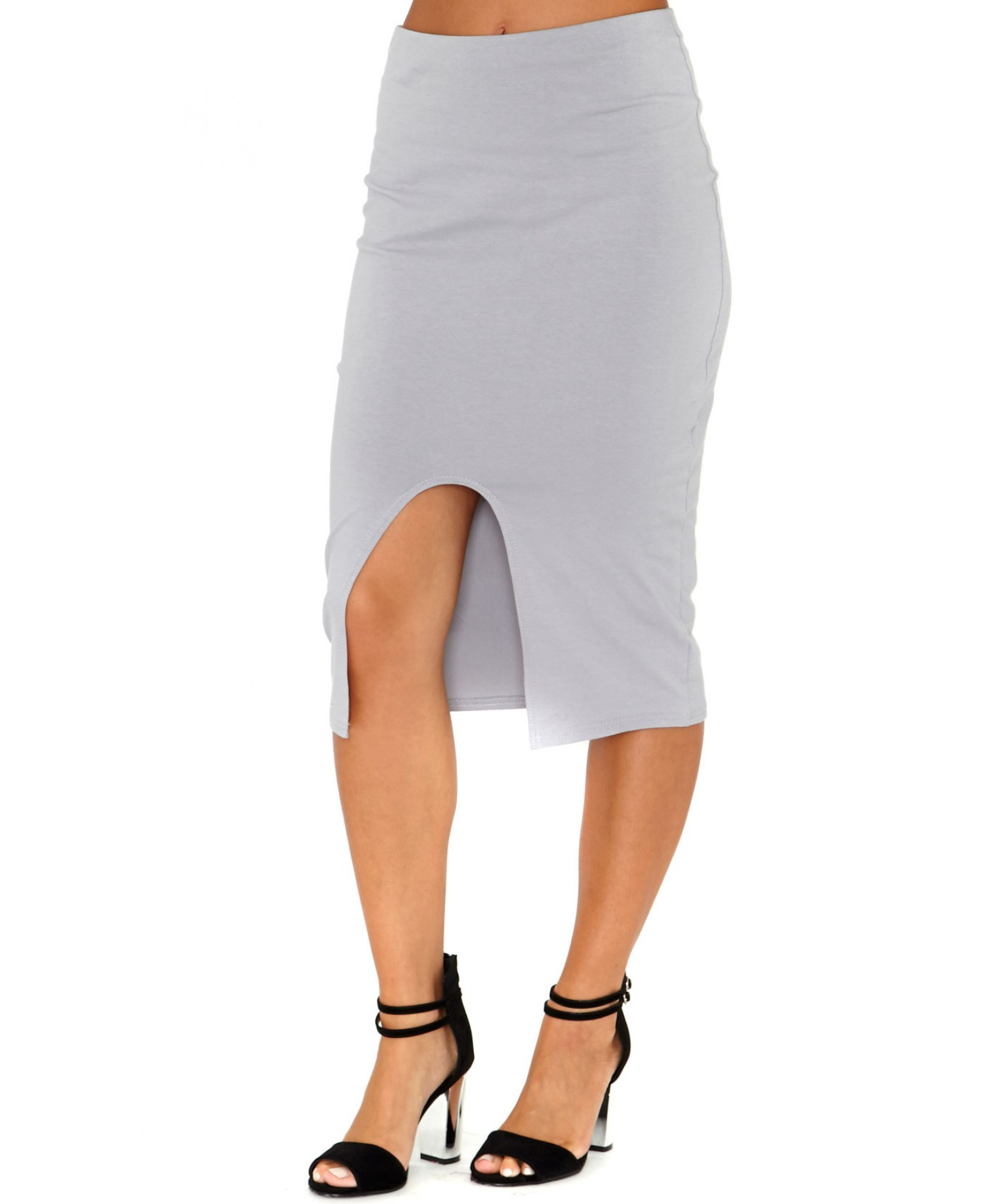 missguided terry front split bodycon midi skirt in grey in