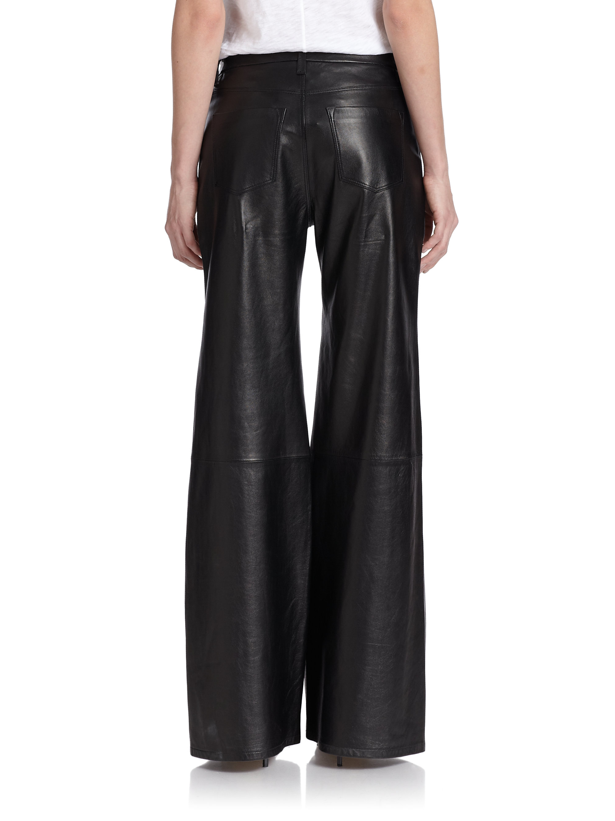 J brand Carine Wide-Leg Leather Pants in Black | Lyst