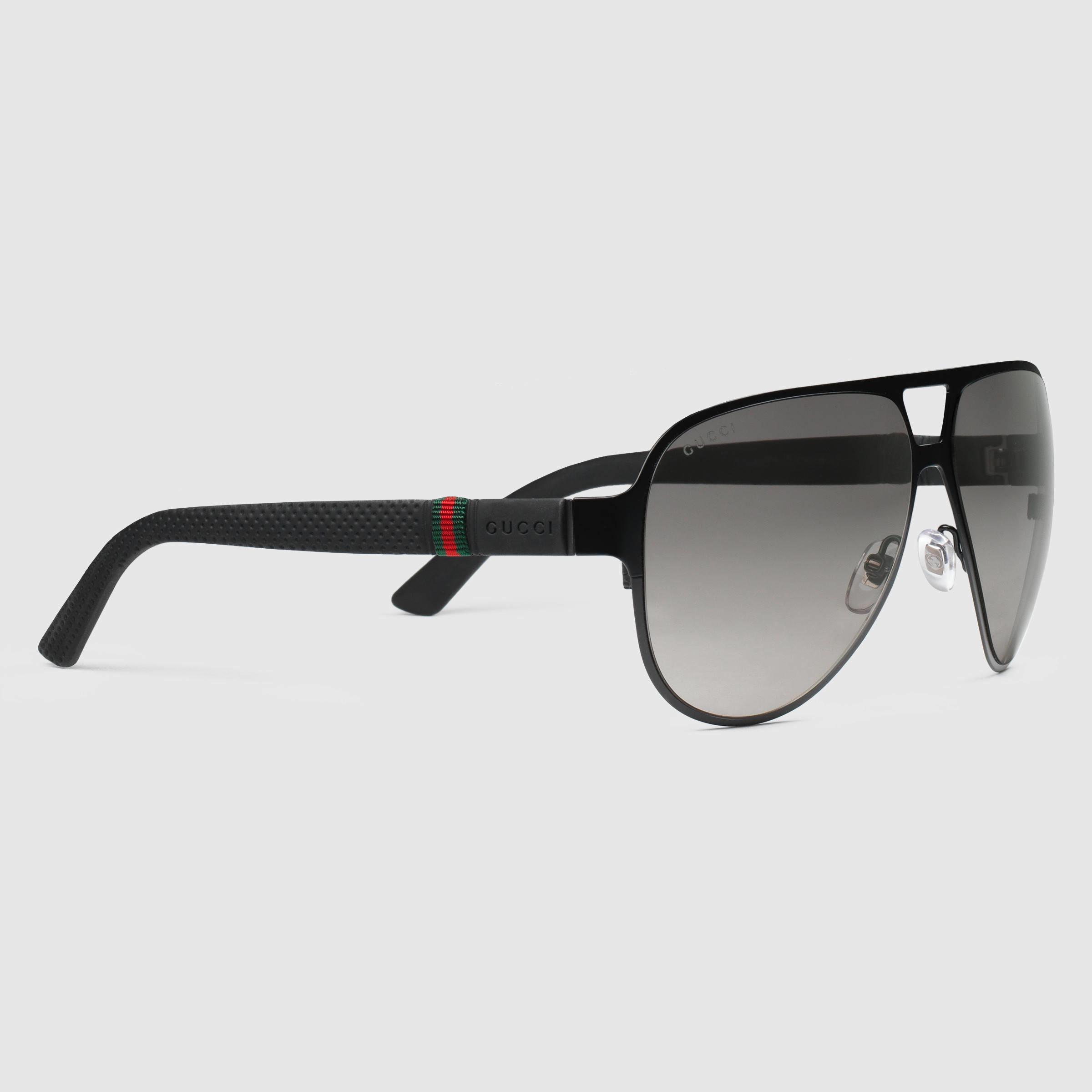 97c45c641ae Gucci Black Oversized Runway Aviator Sunglasses