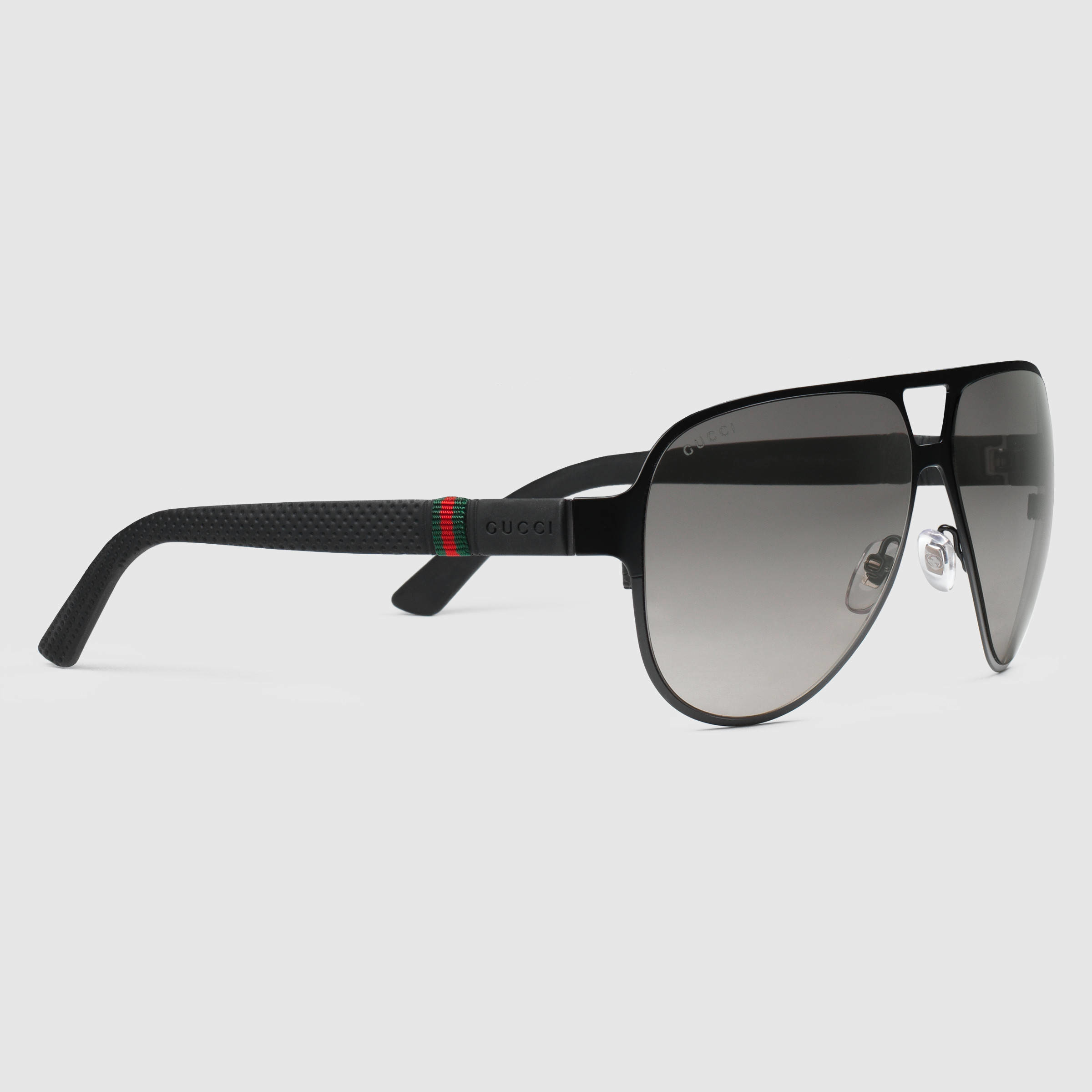 Lyst Gucci Light Steel Aviator Sunglasses In Black For Men