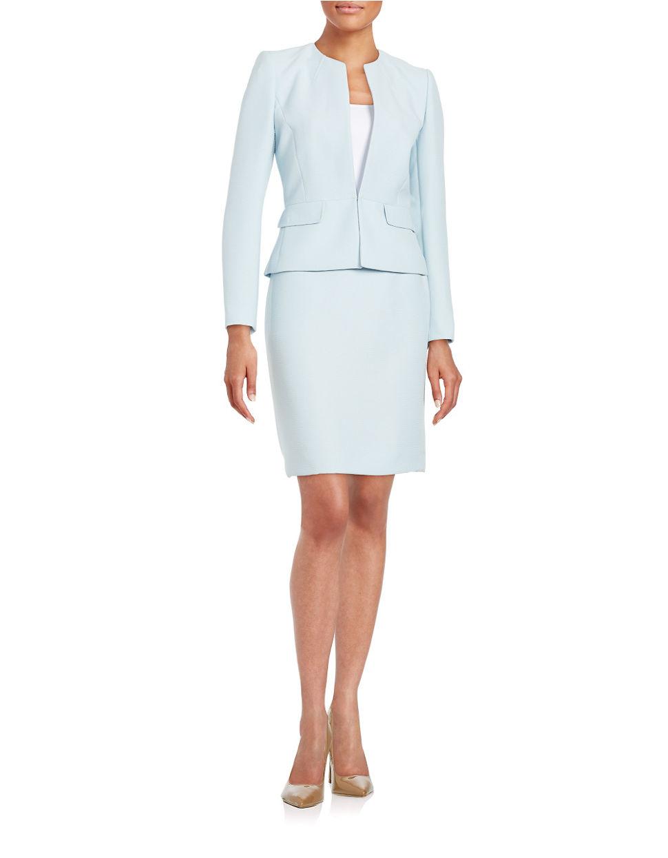 tahari textured skirt suit in blue lyst