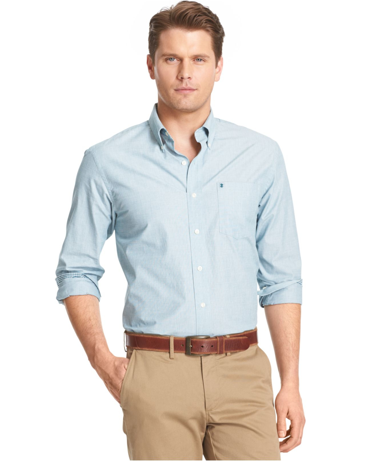 Izod big and tall solid long sleeve shirt in blue for men for Izod big and tall essential solid shirt